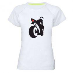 Женская спортивная футболка Мотоциклист на спорте
