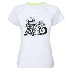 Женская спортивная футболка Мотоциклист - FatLine