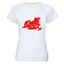 Женская спортивная футболка Мотокросс лого - FatLine