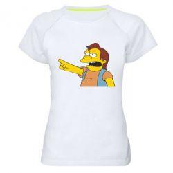 Женская спортивная футболка Нельсон Симпсон - FatLine