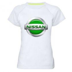Женская спортивная футболка Nissan Green - FatLine