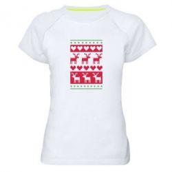 Женская спортивная футболка Новогодние узоры - FatLine