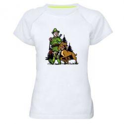 Женская спортивная футболка Охотник с собакой