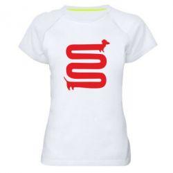 Женская спортивная футболка оооочень длинная такса - FatLine