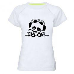Женская спортивная футболка Панда в наушниках - FatLine