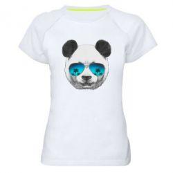 Женская спортивная футболка Панда в очках - FatLine