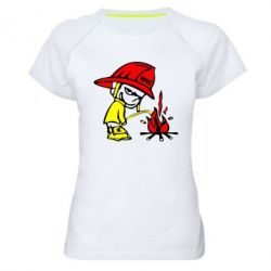 Женская спортивная футболка Писающий хулиган-пожарный - FatLine