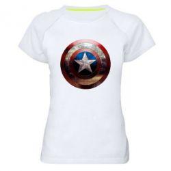 Женская спортивная футболка Потрескавшийся щит Капитана Америка - FatLine
