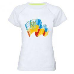 Женская спортивная футболка Прапор України з гербом - FatLine