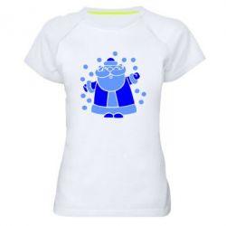 Женская спортивная футболка Прикольный дед мороз - FatLine