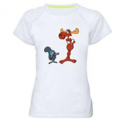 Женская спортивная футболка Рокки и Бульвинкль - FatLine