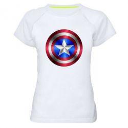 Женская спортивная футболка Щит Капитана Америка - FatLine