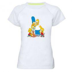 Женская спортивная футболка Simpsons Family - FatLine