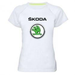 Женская спортивная футболка Skoda Logo 3D - FatLine