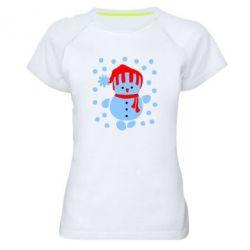 Женская спортивная футболка Снеговик в шапке - FatLine