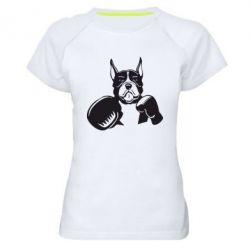 Женская спортивная футболка Собака в боксерских перчатках - FatLine