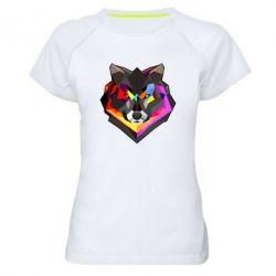 Женская спортивная футболка Сolorful wolf - FatLine
