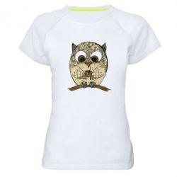 Купить Женская спортивная футболка Сова с кофе, FatLine