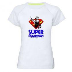 Женская спортивная футболка Super FisherMan - FatLine