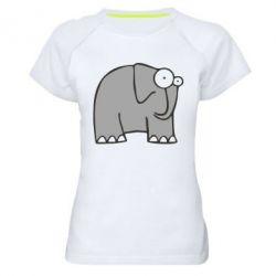 Женская спортивная футболка удивленный слон - FatLine