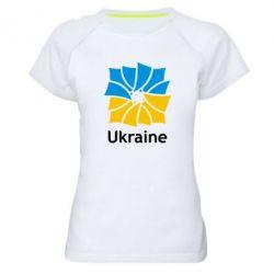 Женская спортивная футболка Ukraine квадратний прапор - FatLine