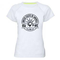 Женская спортивная футболка USA NYC - FatLine