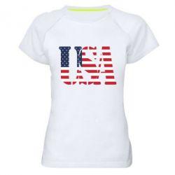 Женская спортивная футболка USA - FatLine