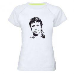 Женская спортивная футболка Владимир Высоцкий портрет - FatLine