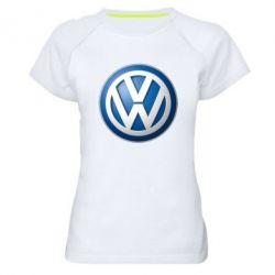 Женская спортивная футболка Volkswagen Small Logo - FatLine