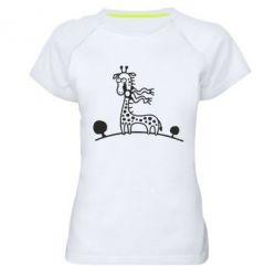 Женская спортивная футболка жираф - FatLine