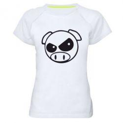 Женская спортивная футболка Злая свинка - FatLine