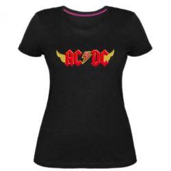 Жіноча стрейчева футболка AC/DC з крилами
