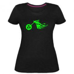 Жіноча стрейчева футболка Аццкий байк