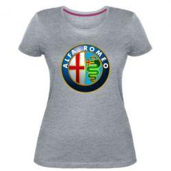 Купить Автомобилистам, Женская стрейчевая футболка ALFA ROMEO, FatLine