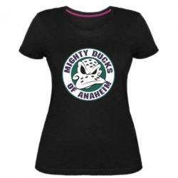 Женская стрейчевая футболка Anaheim Mighty Ducks Logo