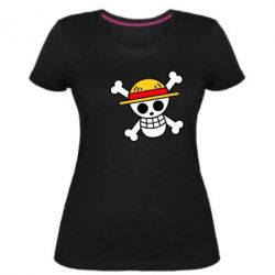 Жіноча стрейчева футболка Anime logo One Piece skull pirate