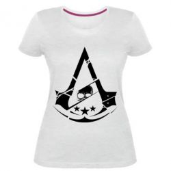 Женская стрейчевая футболка Assassin's Creed and skull 1