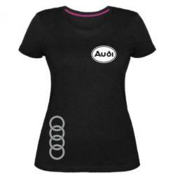 Жіноча стрейчева футболка Логотип Audi