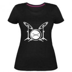 Женская стрейчевая футболка Барабанная установка