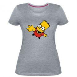 Женская стрейчевая футболка Барт Симпсон