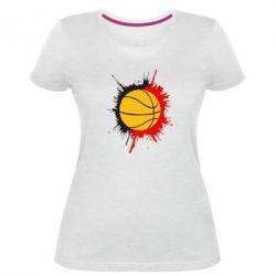 Женская стрейчевая футболка Баскетбольный мяч - FatLine
