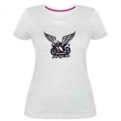 Жіноча стрейчева футболка Байк з крилами