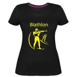 Женская стрейчевая футболка Biathlon