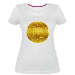 Жіноча стрейчева футболка Bitcoin coin
