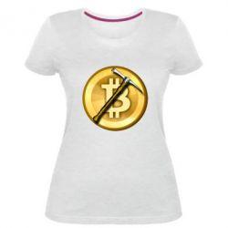 Жіноча стрейчева футболка Bitcoin Hammer