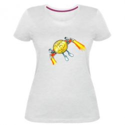 Жіноча стрейчева футболка Bitcoin into space