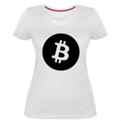 Жіноча стрейчева футболка Біткоин лого