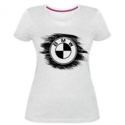 Купить Женская стрейчевая футболка БМВ арт, BMW art, FatLine