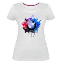 Женская стрейчевая футболка BMW logo art 2 - FatLine
