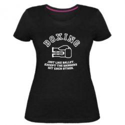 Женская стрейчевая футболка Boxing just like ballet - FatLine